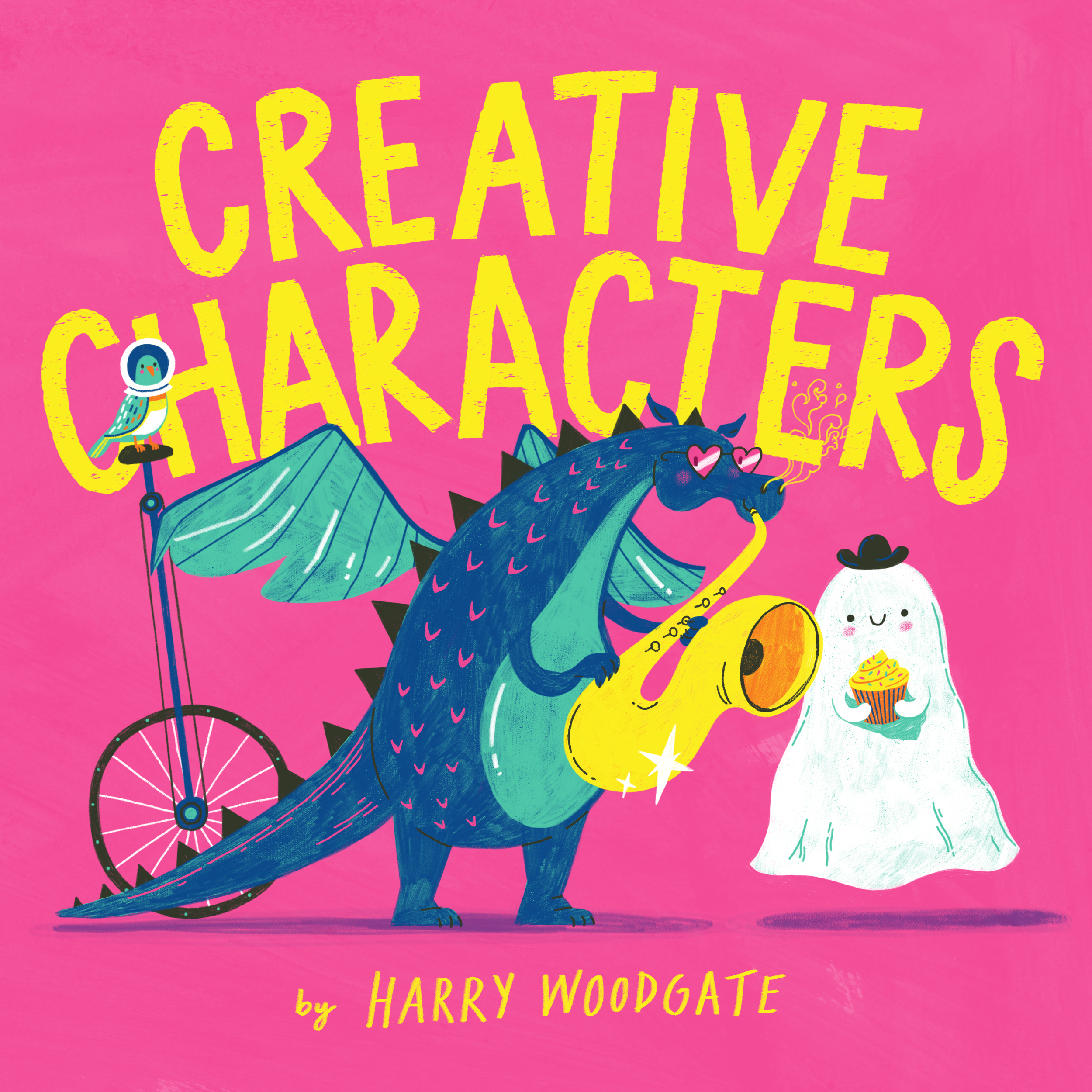 A blue dinosaur playing the sax, a ghost with a bowler hat with cupcake and a parrot wearing a astronaut helmet riding a unicycle. All standing in front of a pink background with gold words that read creative characters.