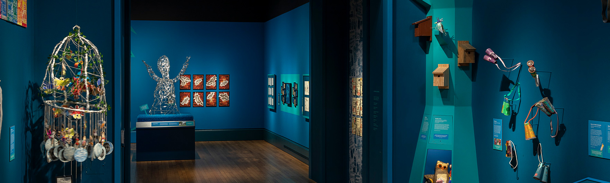 Exhibition with blue walls