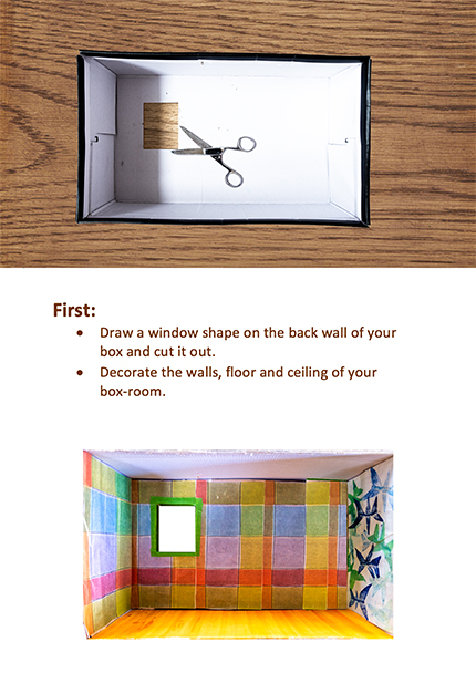 Step 1: Cut out a window of your box and decorate the walls