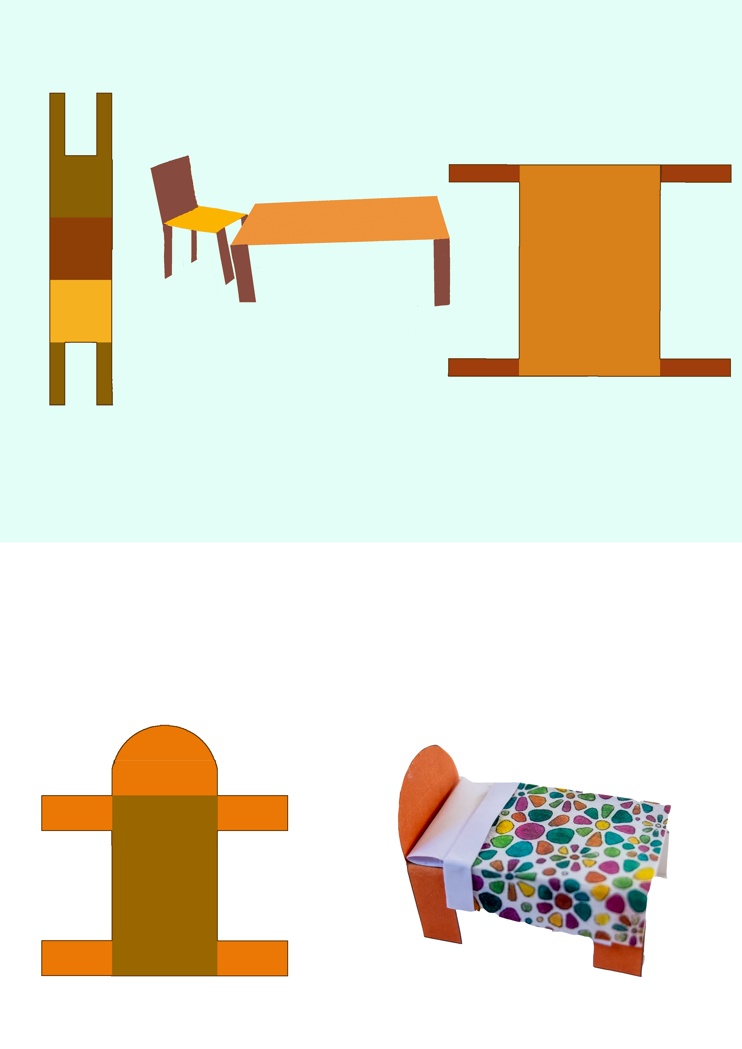 Furniture examples, use these shapes as templates to make a table, chair or bed