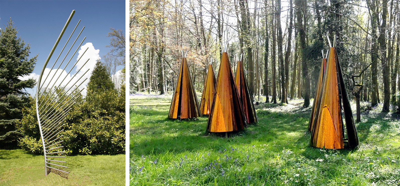 Left: Mountains sculpture, steel mirrored pointy shapes in the shape of a mountain. Right: copper coloured cones