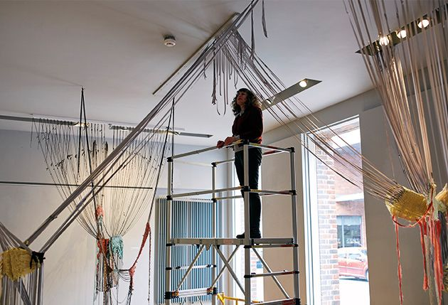 Lucy Brown working on site at R Space Gallery inLisburn, Northern Ireland, 2018.
