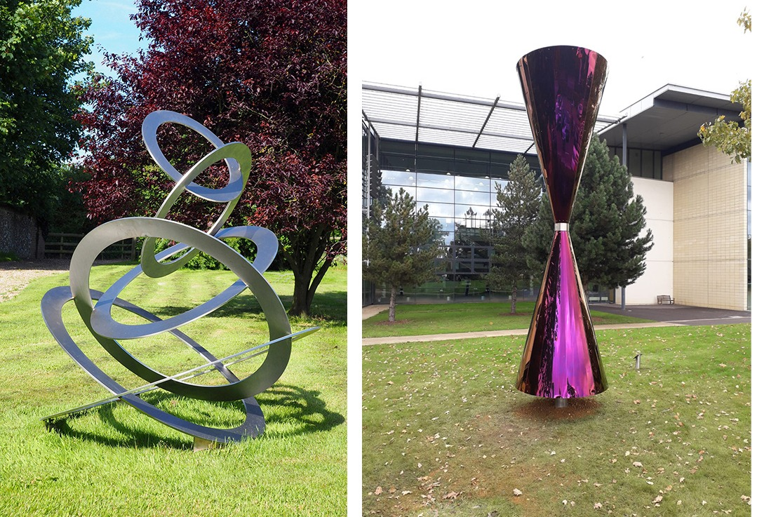 Sculptures Left: Sky Cirles ; steel circles titiled on top of each other and sculpture:  Diabolo; purple chrome cone with thin centre like a diabolo toy.